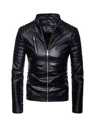 Men's Multi-Zipper <b>Motorcycle Leather</b> Jacket Fashion <b>Stand Collar</b> ...