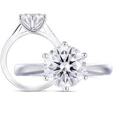 <b>DovEggs Solid</b> 14K White Gold 2ct 8MM G-H-I Color 2.8MM Width ...