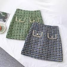 <b>AcFirst Autumn Winter</b> Blue <b>Green</b> Skirts Women Fashion A-Line ...