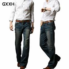 <b>2019 Mens</b> Big <b>Flared</b> Jeans <b>Boot Cut</b> Leg <b>Flared</b> Loose Fit high ...