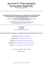 (PDF) Temperature-Stress Equivalancy in Nonlinear Visco-elastic ...