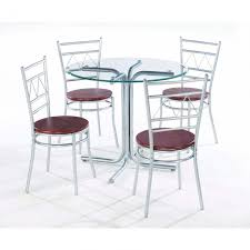 metal dining room chairs chrome: medium size of round clear glass top dining table design idea with chrome polished leg white