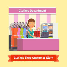 sales assistant stock illustrations  cliparts and royalty free     s assistant  sales clerk working   customers at the clothes store or department  pretty