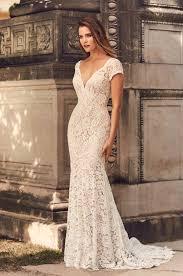 <b>Short Sleeve V-Neckline</b> Wedding Dress - Style #2233 | Mikaella ...