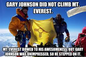 Gary Johnson did not climb Mt. Everest. Mt. Everest bowed to his ... via Relatably.com