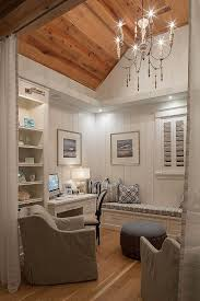small home office den with reclaimed plank wood ceiling vertical shiplap wainscoting and built in cabinetry draperies add some privacy to the space bedroom sweat modern bed home office room