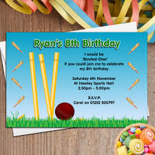 10 personalised cricket birthday party invitations n46 the 10 personalised cricket birthday party invitations n46 the personalised party co