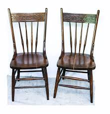 spindle chairs family two circa  antique wood pressed back spindle dining chairs