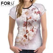 <b>FORUDESIGNS</b> Pink Peach Blossom <b>Women T Shirt</b> 3D Floral ...