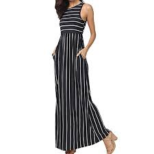 Hot <b>Women Summer</b> Sleeveless Striped Long Skirt <b>Fashion</b> Fit <b>Flare</b> ...