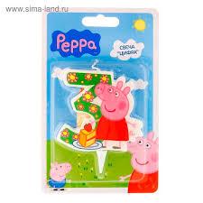"""<b>Свеча</b> для торта <b>цифра</b> """"<b>Peppa Pig</b>"""" зелёная """"3"""" в г. Борисов ..."""