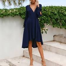 <b>2019</b> Spring Casual V Collar Plain Chiffon Vacation Dress | Women ...