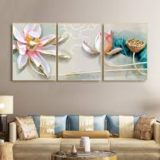 <b>Laeacco 3 Panel</b> Simple Style Chinese Lotus Flower Canvas ...