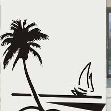 palm tree wall stickers: new free shipping removable diy mural wallpaper beach coconut tree sailboat wall stickers home decoration