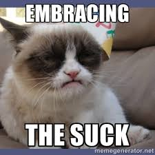 EMBRACING THE SUCK - Birthday Grumpy Cat | Meme Generator via Relatably.com