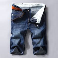 Men Men Denim Shorts <b>Summer Thin</b> Section <b>Elastic</b> Force Slim Fit ...