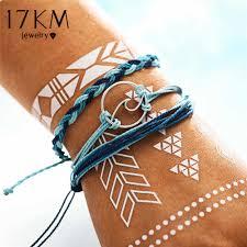 17KM Vintage <b>Multilayer Wave</b> Bracelets Set For <b>Woman</b> Fashion ...