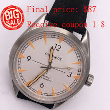 <b>41mm Corgeut White Dial</b> Stainless Steel Case Glass Sapphire ...