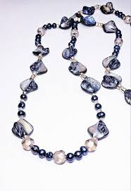 Navy <b>Blue</b> Keshi Freshwater <b>Pearl Necklace</b> Champagne Gold ...