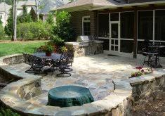 patio stone outdoor living walls steps fire