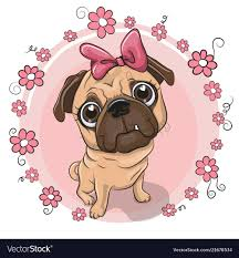 <b>Cute puppy</b> girl with <b>flowers</b> on a pink background Vector Image
