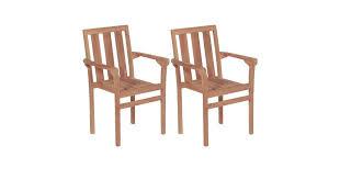 Stacking <b>Garden Chairs 2 pcs</b> Solid Teak Wood - Matt Blatt