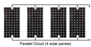 solar power panels or cells in parallel circuits parallel circuit 4 solar panels