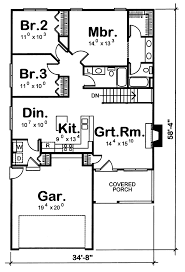 Tharpe Narrow Lot Home Plan D    House Plans and MoreTraditional House Plan First Floor   D    House Plans and More