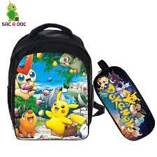 <b>Anime Pokemon</b> 2 Pcs Set School <b>Backpack</b> Children School Bags ...