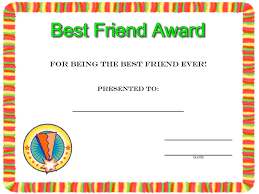 certificates coloring pages friendship day best friend award certificate to print