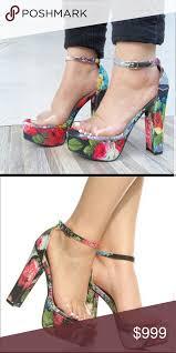 COMING! <b>Transparent</b> Tropical <b>Floral</b> Platform Heels BRAND <b>NEW</b> ...