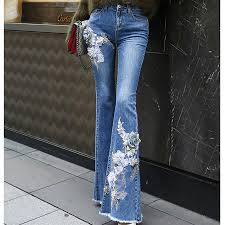 <b>2018 Women</b> Blue <b>Appliques</b> Embroidery Jeans <b>Female</b> High Waist ...