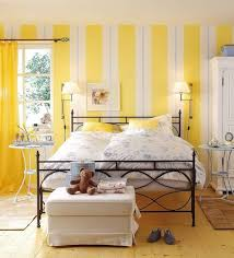 elegant creative painting ideas for bedrooms with striped pattern white yellow colors wallpaper and combine with bedroom endearing rod iron