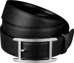 CRL5000615 - Tank Belt - Black grained and <b>smooth</b> cowhide ...