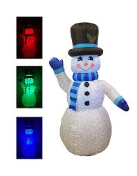 6 Foot Tall Christmas <b>Inflatable Snowman</b> Multi Color <b>LED Lights</b> ...