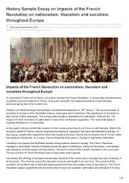 premiumessays net history sample essay on impacts of the french revol