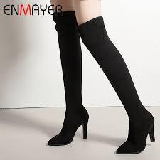 <b>ENMAYER 2019 New Arrival</b> Flock Over The Knee Boots Basic ...