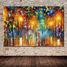 <b>Large Handpainted</b> Lovers Rain Stree Tree Lamp Landscape Oil ...