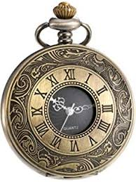 WANGZHENG Quartz Pocket Watch <b>Vintage</b> Glamour Black <b>Unisex</b> ...