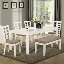 dining room bench seating: built with solid wood and mdf board this white and grey dining set with bench
