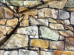 HomeBuy <b>STONE WALL</b> brick wall <b>Print</b> Curtain Upholstery Cotton ...