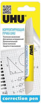 <b>Ручка</b>-<b>корректор UHU</b>, 8 мл, металлический наконечник, <b>19</b> всего ...