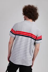Поло <b>URBAN CLASSICS</b> Classic <b>Stripe</b> Polo Grey/Firered/Navy/White