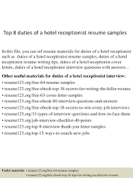 top  duties of a hotel receptionist resume samplestop  duties of a hotel receptionist resume samples in this file