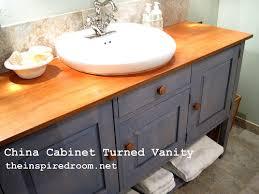 open bathroom vanity cabinet:  china cabinet turned vanity