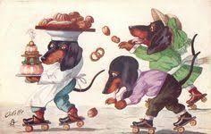 dressed dachshund <b>boy and</b> girl catch cookies spilt by dachshund ...