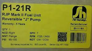 <b>Suntec</b> J Pump P1-21R Mark II RJP <b>Single</b> Stage, 1725/3450 ...