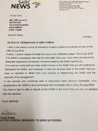 tv thinus sabc boss hlaudi motsoeneng sees to it that all 8 it is common cause that you have made it known to the sabc that you will continue to disrespect the sabc your employer reads the firing letter