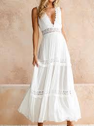 <b>Sweet V</b>-<b>neck</b> Lace Maxi Dress in White - US$39.95 -YOINS