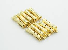 Male Gold Plated Spring Connector <b>4mm</b> (<b>10pcs</b>/bag)